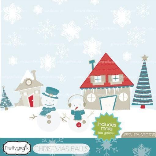 Holiday christmas scene commercial use - PGCLPK437