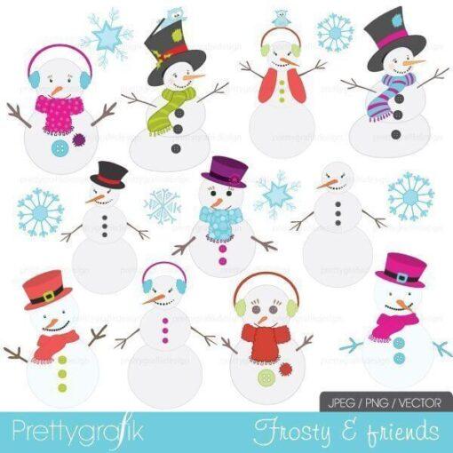 snowman clipart, commercial use - PGCLPK400