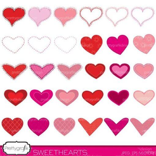 valentine hearts clipart commercial use - PGCLPK447