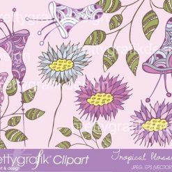 Tropical flowers clipart commercial use - PGCLPK371