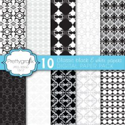 Damask black and white papers
