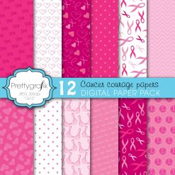 Cancer ribbon papers