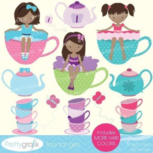 Tea party girls clipart