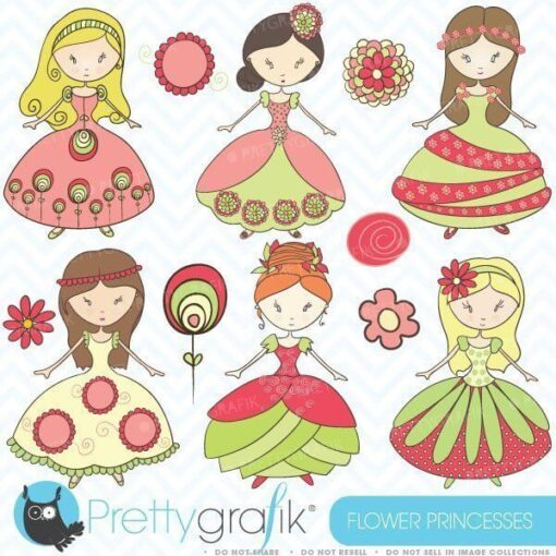 Flower princesses clipart
