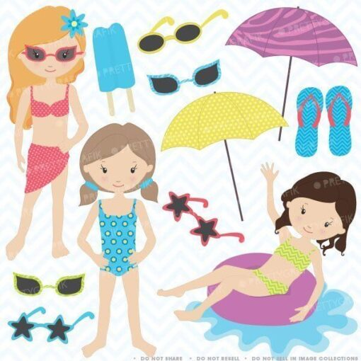 Pool party girls clipart