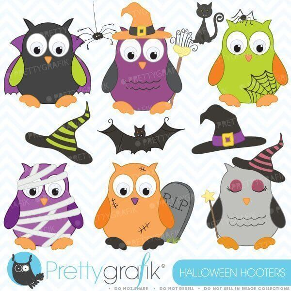 Halloween Owls Clipart - PNG Cute Clip Art Graphics - For Small Commercial  Use