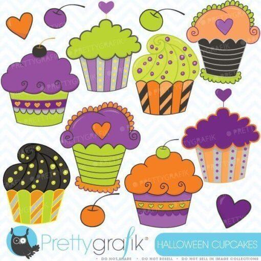 Halloween cupcakes clipart
