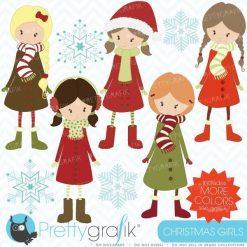Winter christmas girls clipart