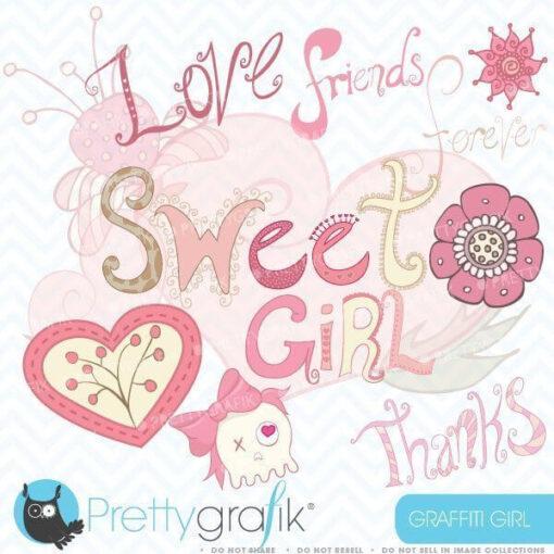 Girl graffiti clipart