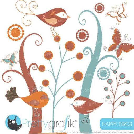 Birds and trees clipart