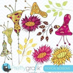 Tropical flowers clipart