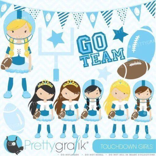Touchdown football girls clipart
