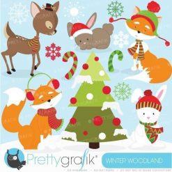 Winter animals clipart
