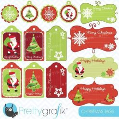 Christmas santa label clipart