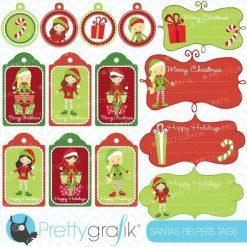 Christmas elves label clipart