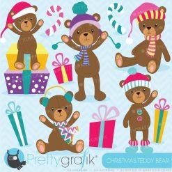 Christmas teddy bear clipart