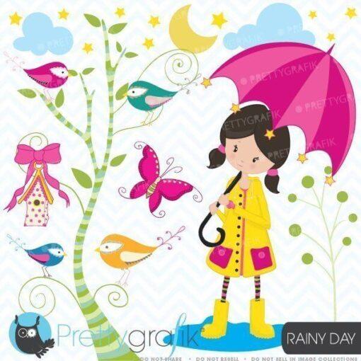 Girl in the rain clipart