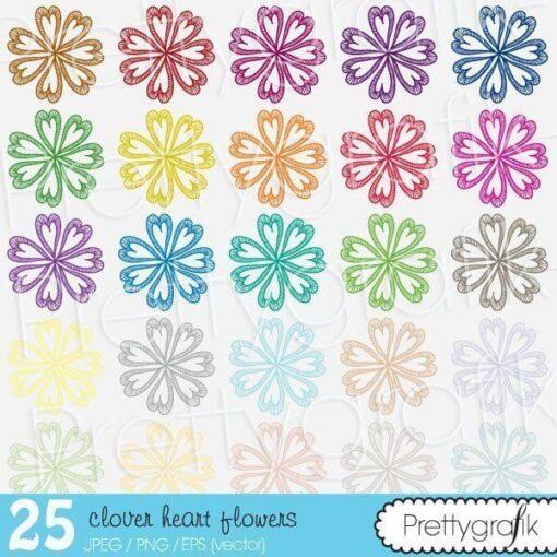 Clover heart flower clipart