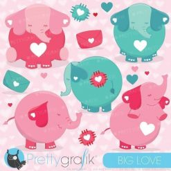 Valentine elephants clipart
