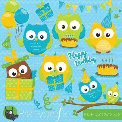 Birthday owls clipart