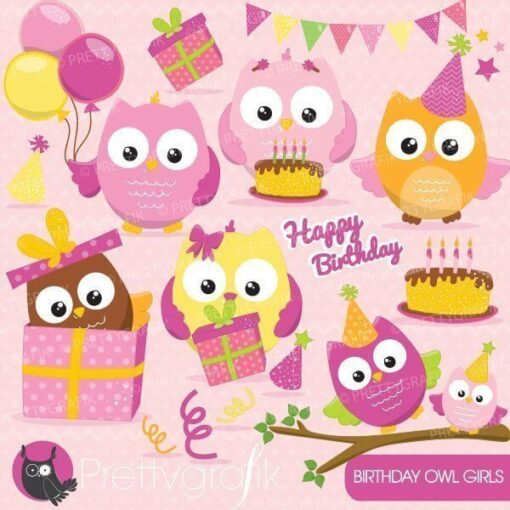 Birthday owls clipart