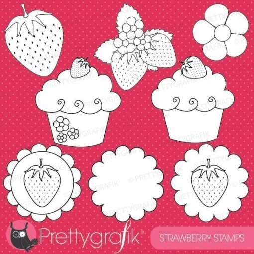 Strawberry dessert stamps