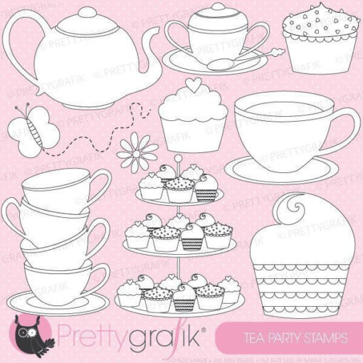 Tea party stamps
