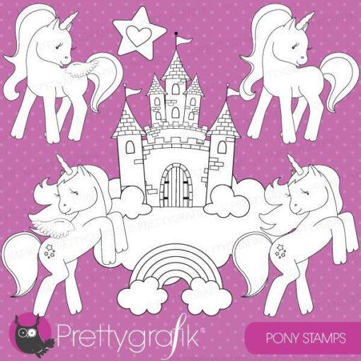 Unicorn pony stamps