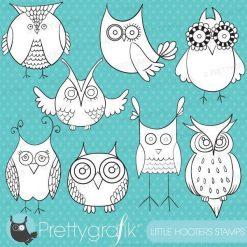 Owl digital stamps