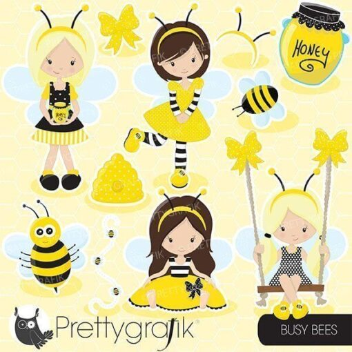 Busy bee girl clipart