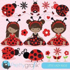 Ladybug girls clipart