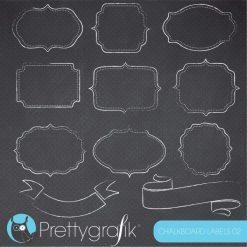 Chalkboard frames & labels clipart