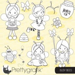 Busy bee girl stamps