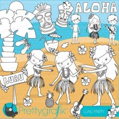 Luau party stamps