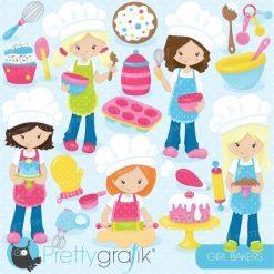Baking girls clipart