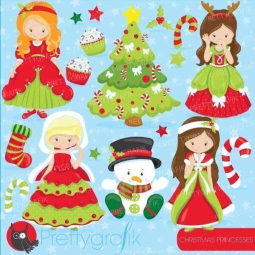 Christmas princess clipart