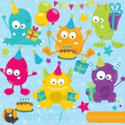 Birthday monsters clipart