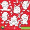 Christmas monster stamps