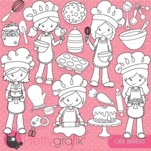 Baking girl stamps