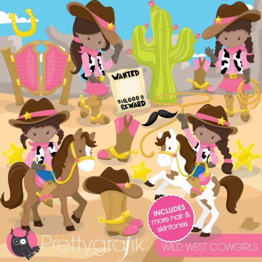 Wild west cowgirls clipart