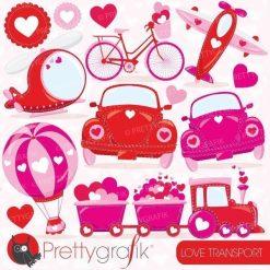 Valentine cars clipart