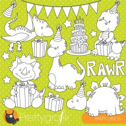 Dinosaur party stamps