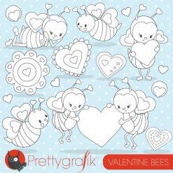 Valentine bee stamps
