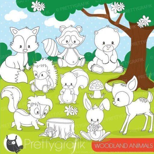 Woodland animal stamps