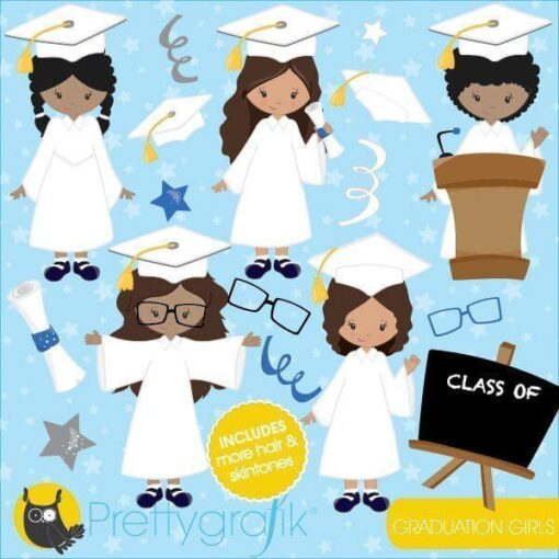 Girls graduation clipart