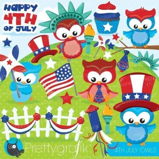 4th of July owls clipart