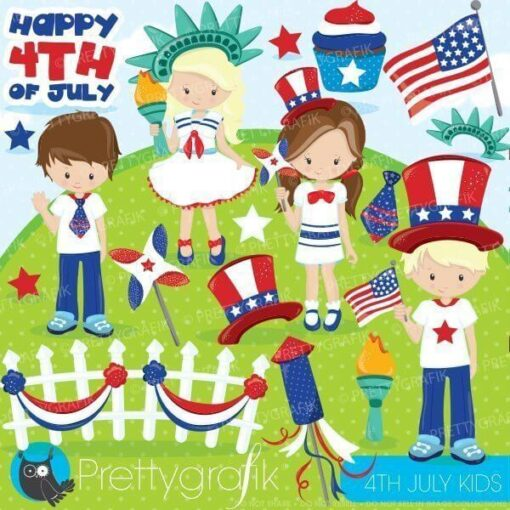 4th of July kids clipart