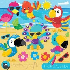 Tropical birds clipart