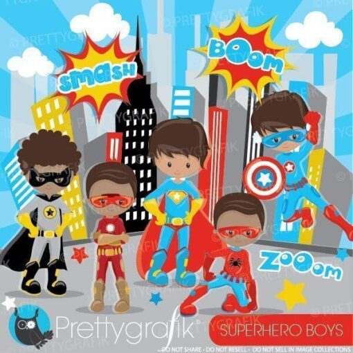 Superhero boys clipart