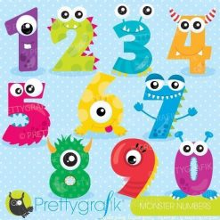 Monster number clipart